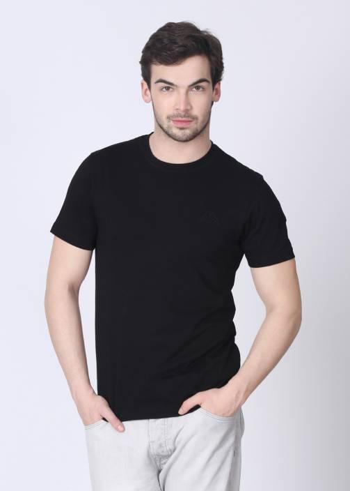 Kappa Solid Men's Round Neck Black T-Shirt