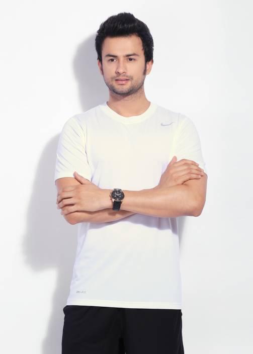 Nike Solid Men's Round Neck White T-Shirt