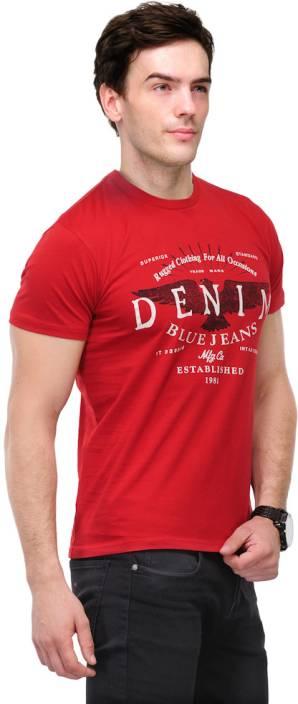 TSX Graphic Print Men's Round Neck Red T-Shirt