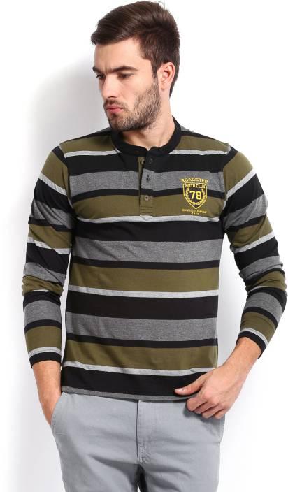 Roadster Striped Men's Henley Black T-Shirt