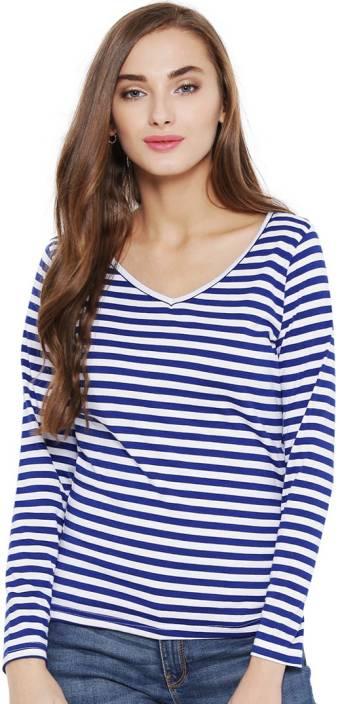 Vea Kupia Striped Women's V-neck Blue T-Shirt