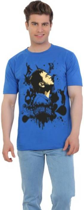 EETEE Printed Men's Round Neck Blue T-Shirt