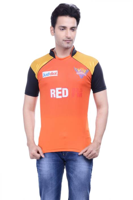 DINAAR Printed Men's Round Neck Orange T-Shirt