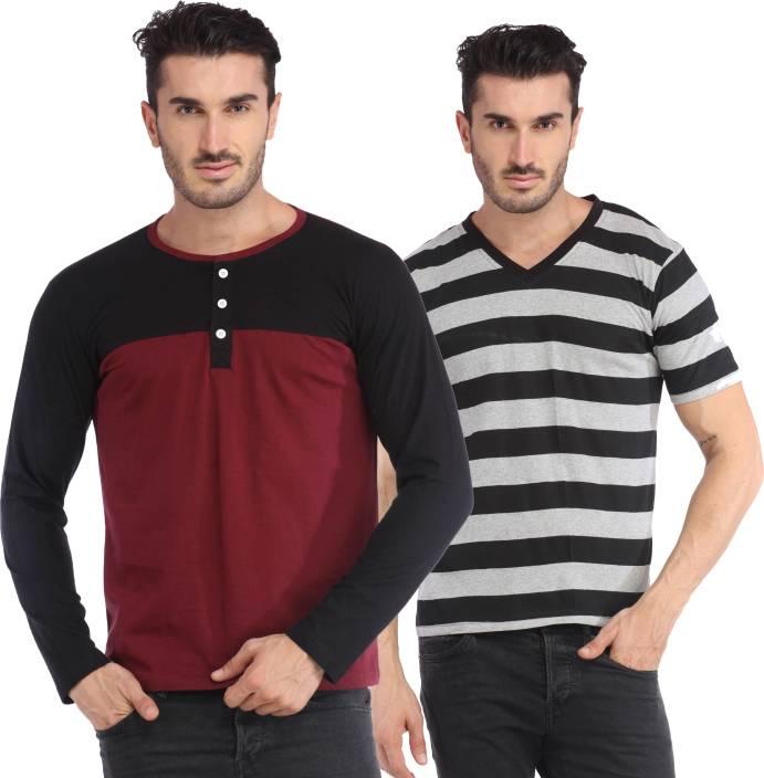Leana Solid Men's Fashion Neck Multicolor T-Shirt