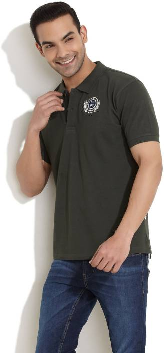 Scullers Solid Men's Polo Neck Dark Green T-Shirt