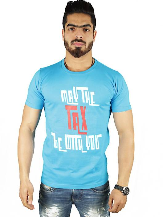 Vimanika Graphic Print Men's Round Neck Blue T-Shirt