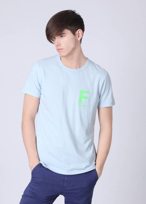 French Connection Printed Men's Round Neck Light Blue T-Shirt