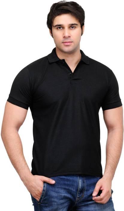TSX Solid Men's Polo Neck Black T-Shirt