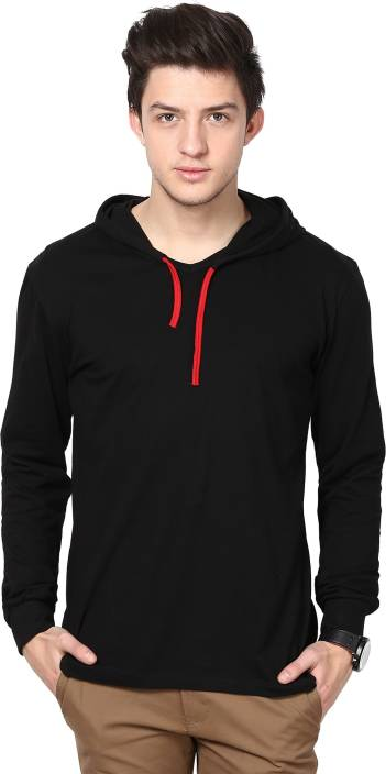 Inkovy Solid Men's Hooded Black T-Shirt - Buy Black Inkovy Solid ...