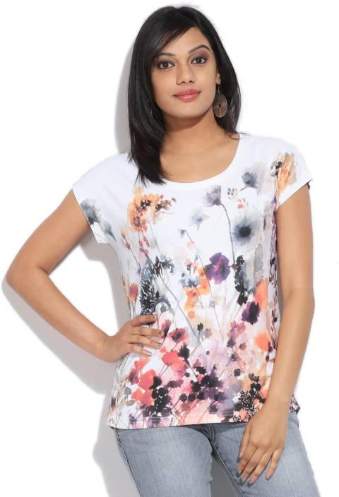 8b26a56e Bossini Floral Print Women's Round Neck Multicolor T-Shirt - Buy BLUE  Bossini Floral Print Women's Round Neck Multicolor T-Shirt Online at Best  Prices in ...