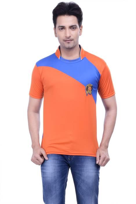 DINAAR Printed Men's Round Neck Orange, Blue T-Shirt