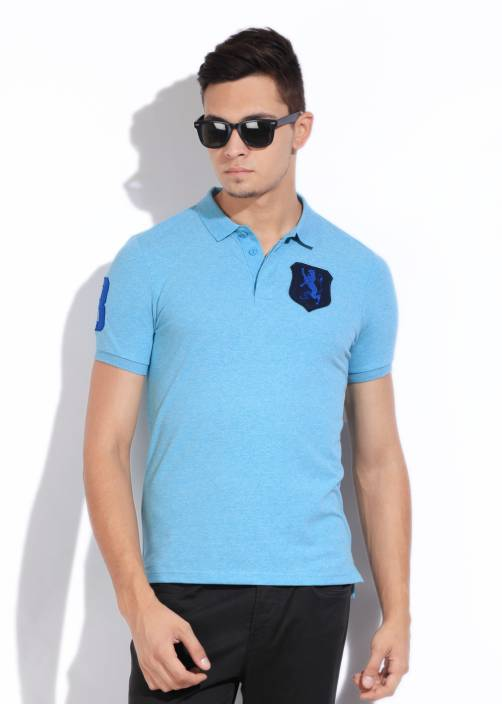 bea2d3c36 Giordano Solid Men s Polo Neck Blue T-Shirt - Buy SKY BLUE Giordano Solid  Men s Polo Neck Blue T-Shirt Online at Best Prices in India