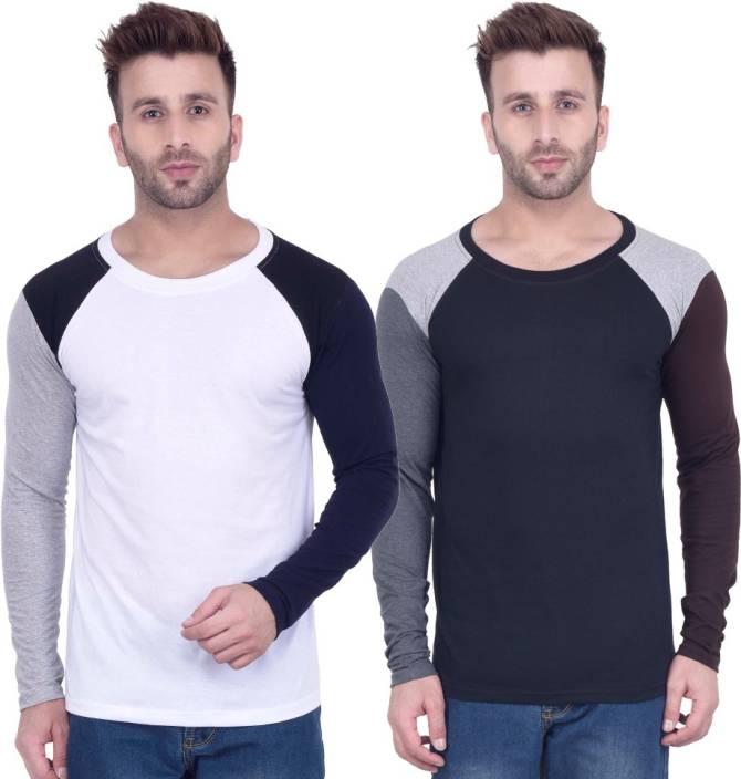 Kay Dee Solid Men's Round Neck White, Black T-Shirt