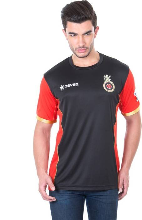 Royal Challengers Bangalore Solid Men's Round Neck Black T-Shirt