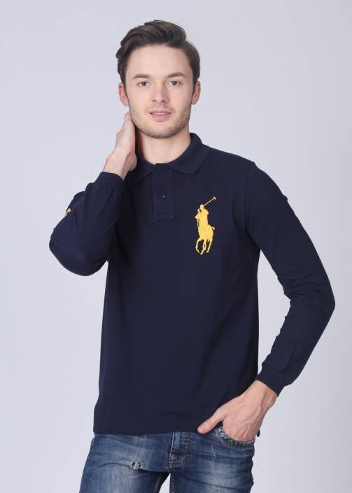 4d8820127c13 Polo Ralph Lauren Solid Men s Polo Neck Blue T-Shirt - Buy Blue Polo Ralph  Lauren Solid Men s Polo Neck Blue T-Shirt Online at Best Prices in India ...