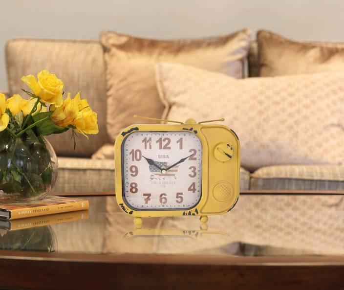 JB Collection Analog Yellow Clock