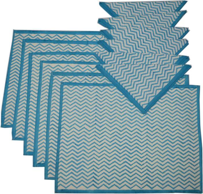 Raaga Textiles Blue, White Organic Cotton Table Linen Set
