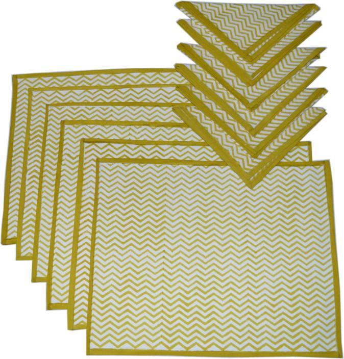 Raaga Textiles Yellow, White Organic Cotton Table Linen Set
