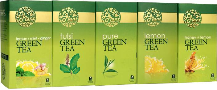 LaPlant Green Tea Collection - 125 Tea Bags Lemon, Mint, Ginger, Honey Green Tea