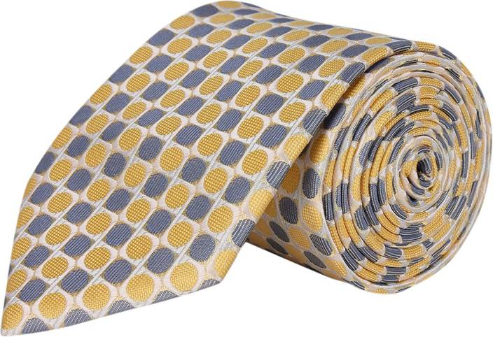 Silk and Satin Color Spark Embroidered Men's Tie - Buy Yellow, Blue