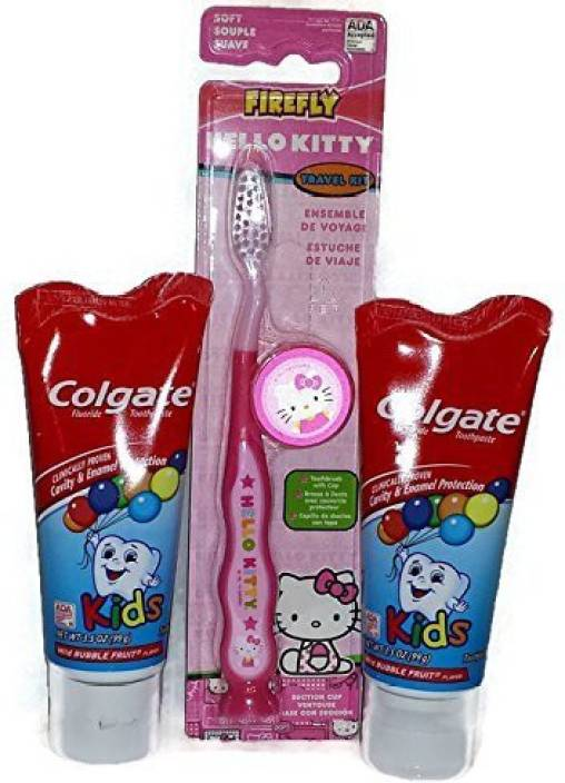 be2cb33d8 Firefly Hello Kitty Toothbrush and Kids Colgate Toothpaste Bundle - One  Toothbrush and Two Tubes of Toothpaste - 3 Item Bundle Soft Toothbrush -  Buy Baby ...