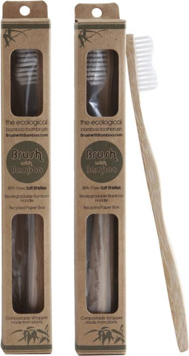 Brush With Bamboo Eco Friendly Toothbrush - Pack of 2 Soft Toothbrush