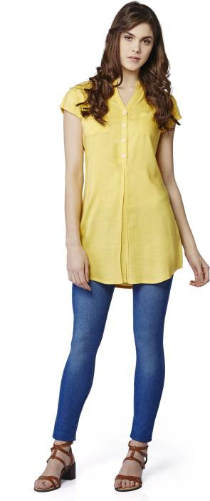 AND Casual Short Sleeve Solid Women's Yellow Top