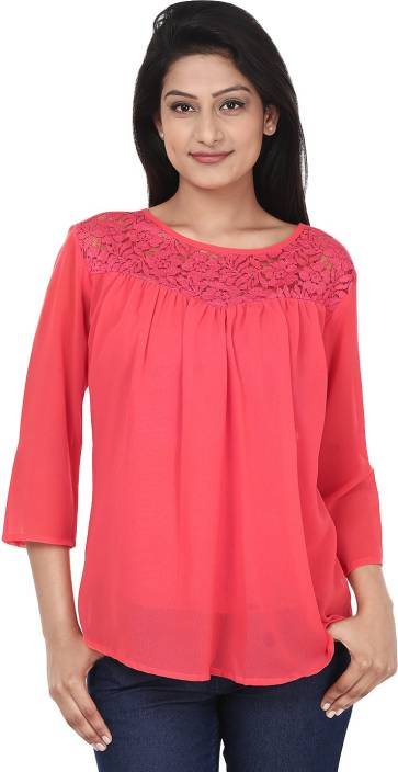 bbdcf1bfae75 Anam Export Casual 3 4th Sleeve Solid Women s Red Top - Buy ...