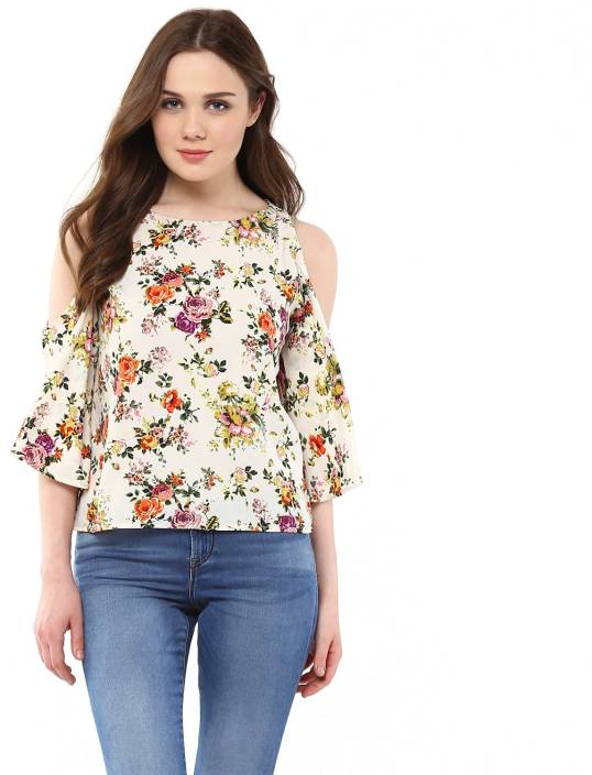 fdb5f0fd02dcd Harpa Casual 3 4th Sleeve Floral Print Women s White Top - Buy White Harpa  Casual 3 4th Sleeve Floral Print Women s White Top Online at Best Prices in  India ...