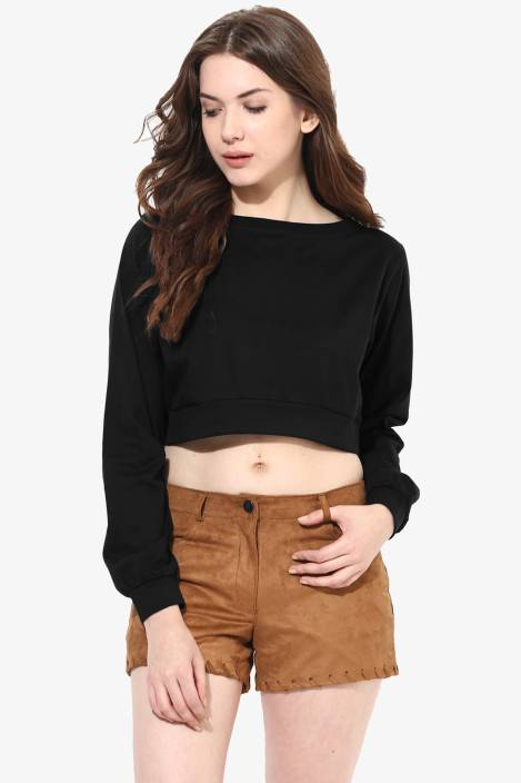a116e7f17c Miss Chase Casual Full Sleeve Solid Women s Black Top - Buy Black Miss Chase  Casual Full Sleeve Solid Women s Black Top Online at Best Prices in India  ...