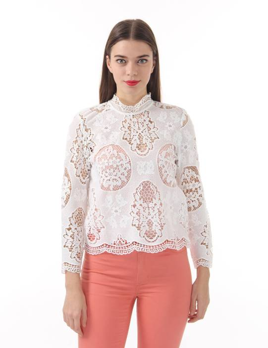 Vero Moda Casual Full Sleeve Self Design Women's White Top