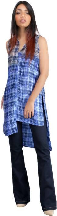 Unclad Casual Sleeveless Checkered Women's Dark Blue Top