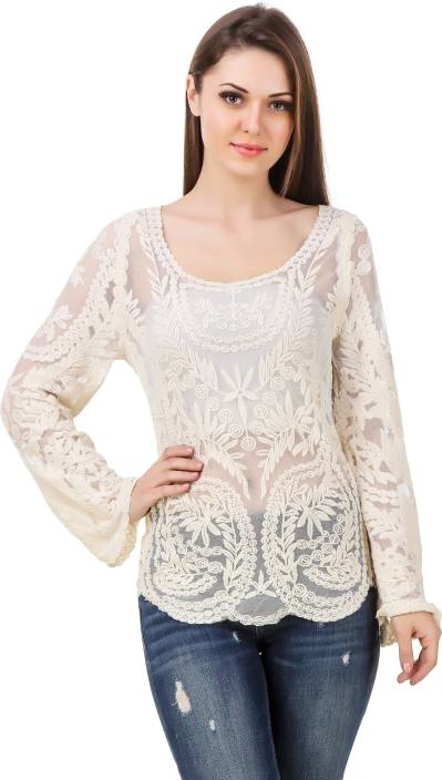 9c2833c4405 ... Sleeve Self Design Women s White Top - Buy White Brandmeup Party Full  Sleeve Self Design Women s White Top Online at Best Prices in India