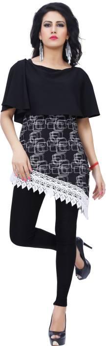Ziyaa Casual Short Sleeve Printed Women's Black Top