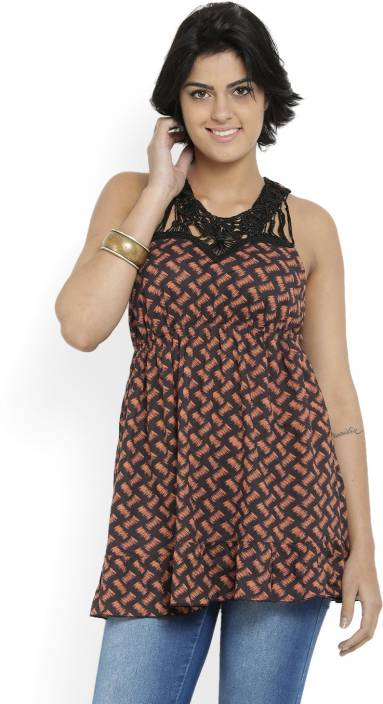 Forever New Casual Sleeveless Printed Women's Orange Top