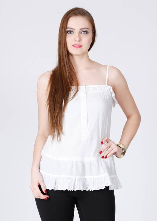 French Connection Casual Sleeveless Solid Women's White Top
