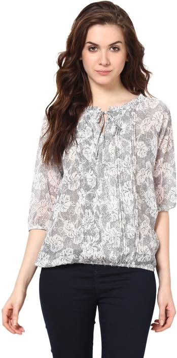 Harpa Casual 3/4th Sleeve Printed Women's Grey Top