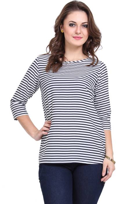Dedes Casual 3/4th Sleeve Striped Women's White, Blue Top