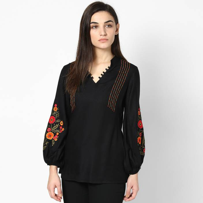 2011244ad8b05 Taurus Formal 3 4th Sleeve Embroidered Women s Black Top - Buy Black Taurus  Formal 3 4th Sleeve Embroidered Women s Black Top Online at Best Prices in  India ...