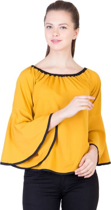 3d32366e1ecd3 Khhalisi Party Bell Sleeve Printed Women's Yellow Top - Buy Yellow Khhalisi  Party Bell Sleeve Printed Women's Yellow Top Online at Best Prices in India  ...