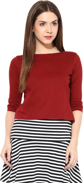 Miss Chase Casual 3/4th Sleeve Solid Women's Maroon Top