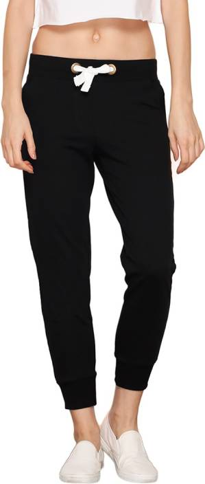6e9a9029a905 Bewakoof Solid Women Black Track Pants - Buy Black Bewakoof Solid ...
