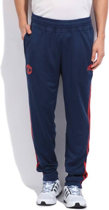 Adidas Manchester United Solid Men S Blue Track Pants Buy