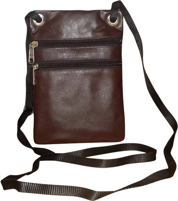 get online huge selection of wholesale sales Kan Brown Genuine Leather Travel Pouch/Sling Bag For Men and Women Small  Travel Bag