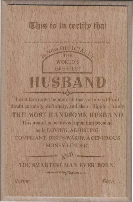 Atpata Funky Worlds Best Husband Certificate Award Trophy Price In
