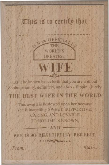 atpata funky world s best wife certificate award trophy price in