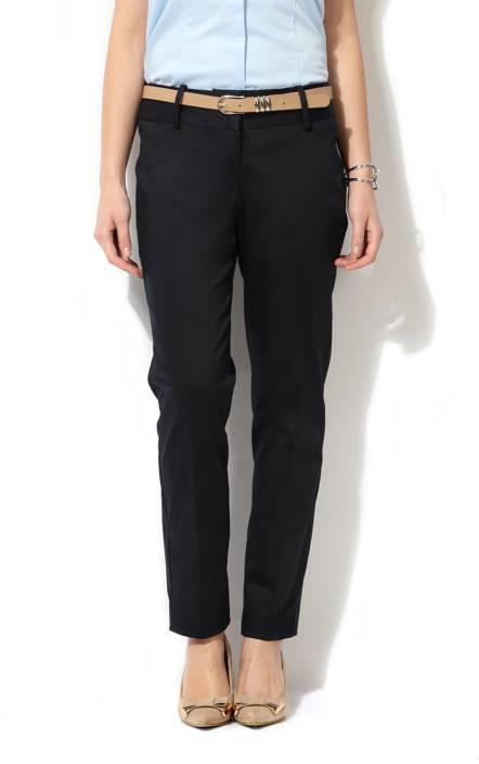 eec0380e966 Van Heusen Regular Fit Women s Black Trousers - Buy Black Van Heusen  Regular Fit Women s Black Trousers Online at Best Prices in India