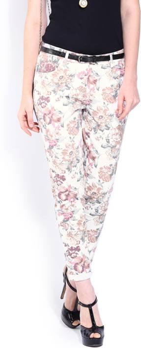 Dressberry Regular Fit Women's White Trousers