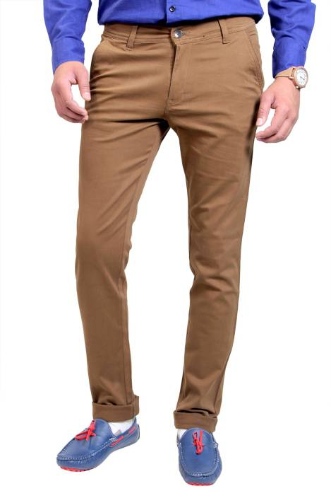 Routeen Slim Fit Men's Brown Trousers