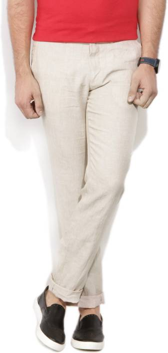 Louis Philippe Slim Fit Men's Beige Trousers